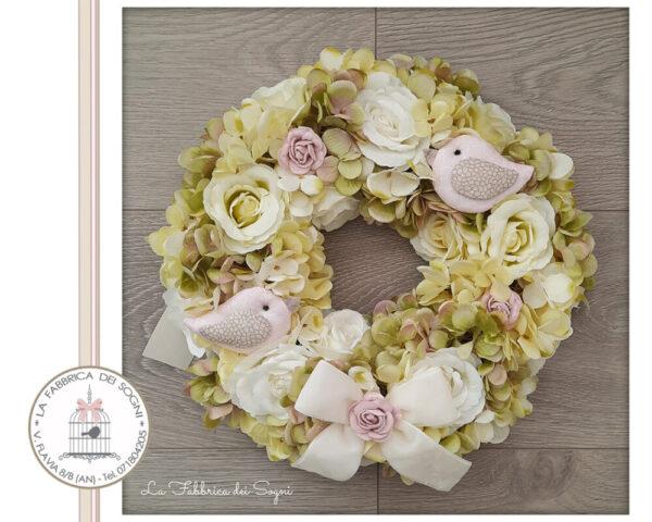 Corona Fuoriporta Bouquet di Fiori Bianca
