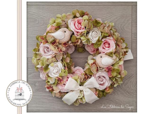Corona Fuoriporta Bouquet di Fiori Rosa