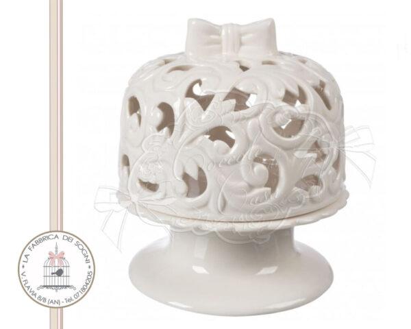 Alzata con campana porcellana traforata grande