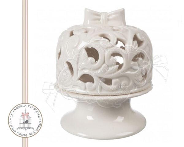 Alzata con campana porcellana traforata piccola